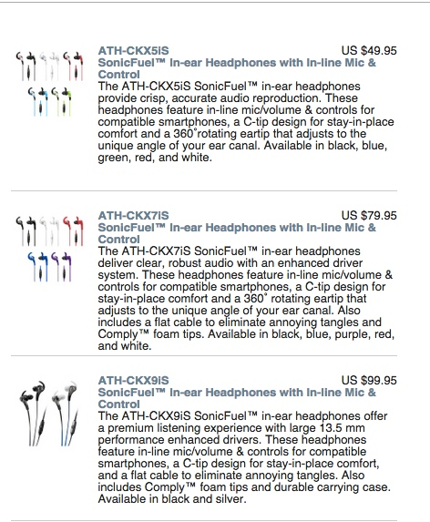 Three models of the Audio Technica Sonic Fuel™ CKX5iS, CKX7iS and CKX9iS