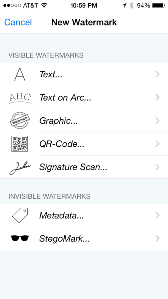iWatermark types of watermarks