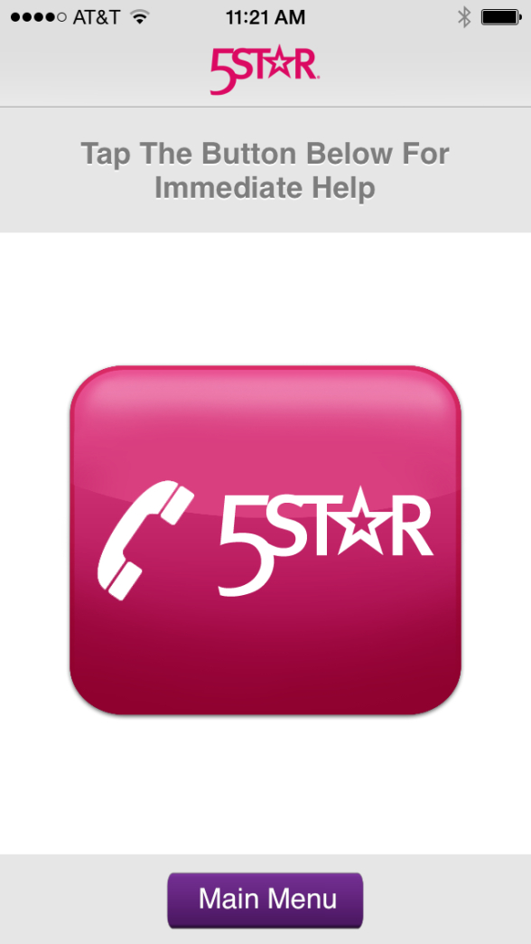 Screen shot of the GreatCall 5Star Landing Page on the iPhone App.