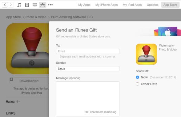 itunes store gift an app screen shot