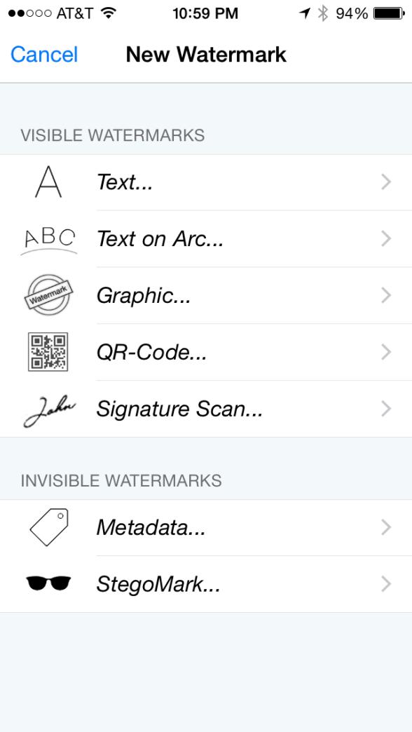 iWatermark types of watermarks